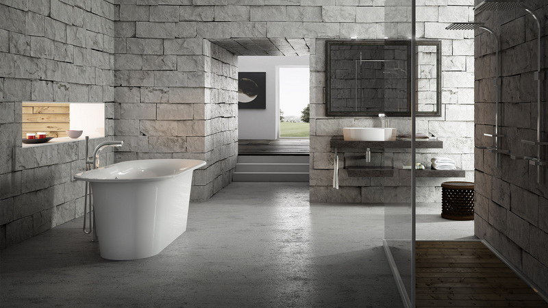 Compartmentalising bathroom areas with texture and bathware